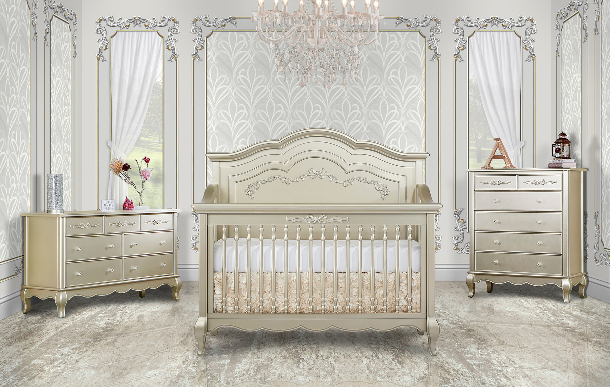 832-GD Aurora Convertible Crib RS