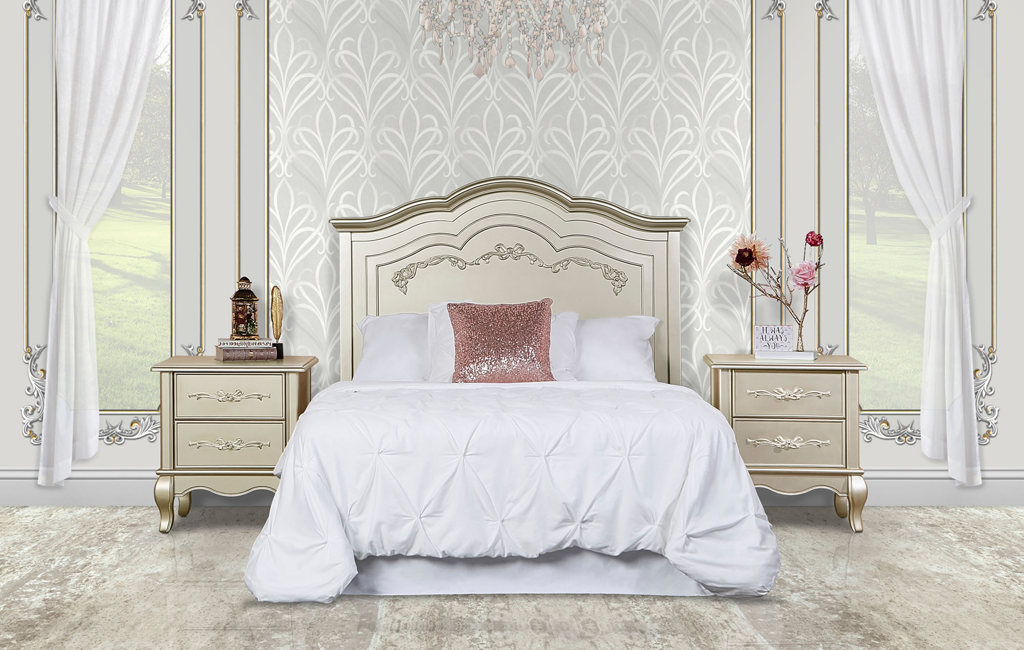 832-GD Aurora Full Bed Headboard RS-1