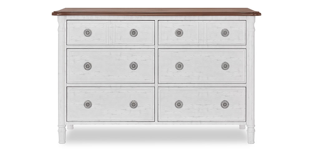 Evolur Julienne Double Dresser Silo Front Toffee and Brushed White Slider