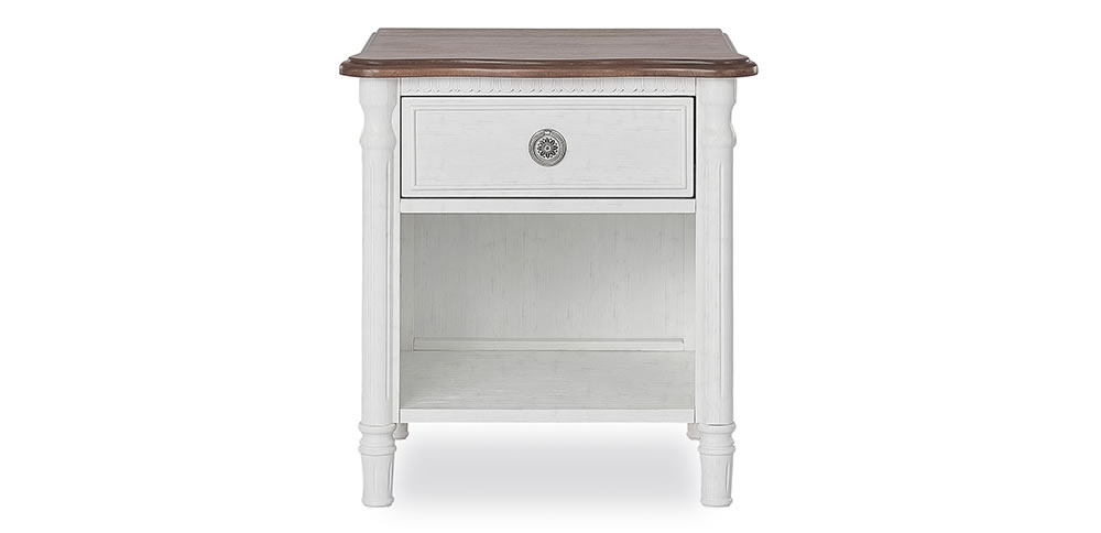 Evolur Julienne Night Stand Front Silo Toffee and Brushed White Slider