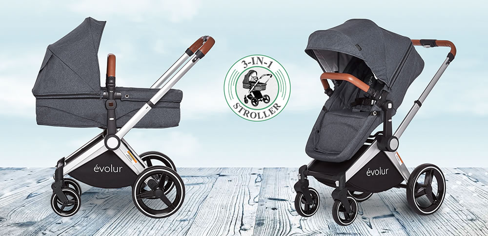 524_GRY_Evolur_Nova_Reversible_Seat_Stroller_Silder_with_Badge