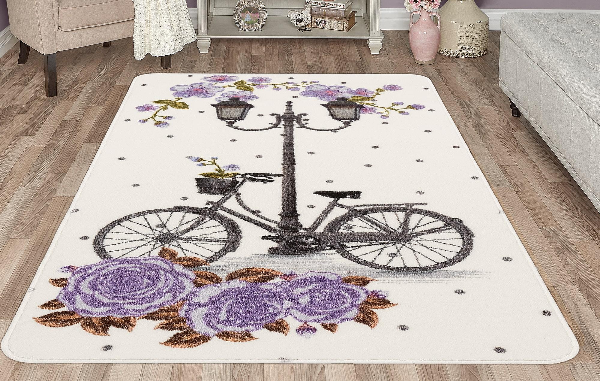 Lilac Vintage Bike Nursery Rug