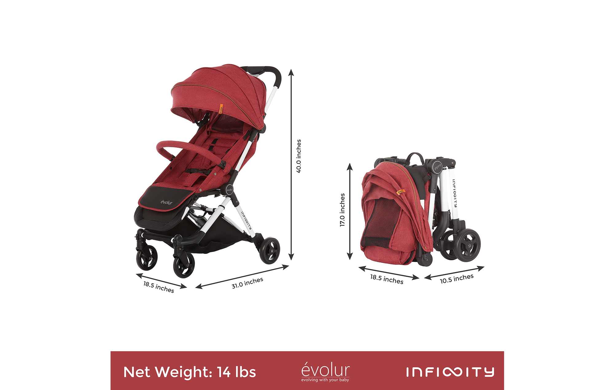 Evolur Infinity Convertible Stroller in Red