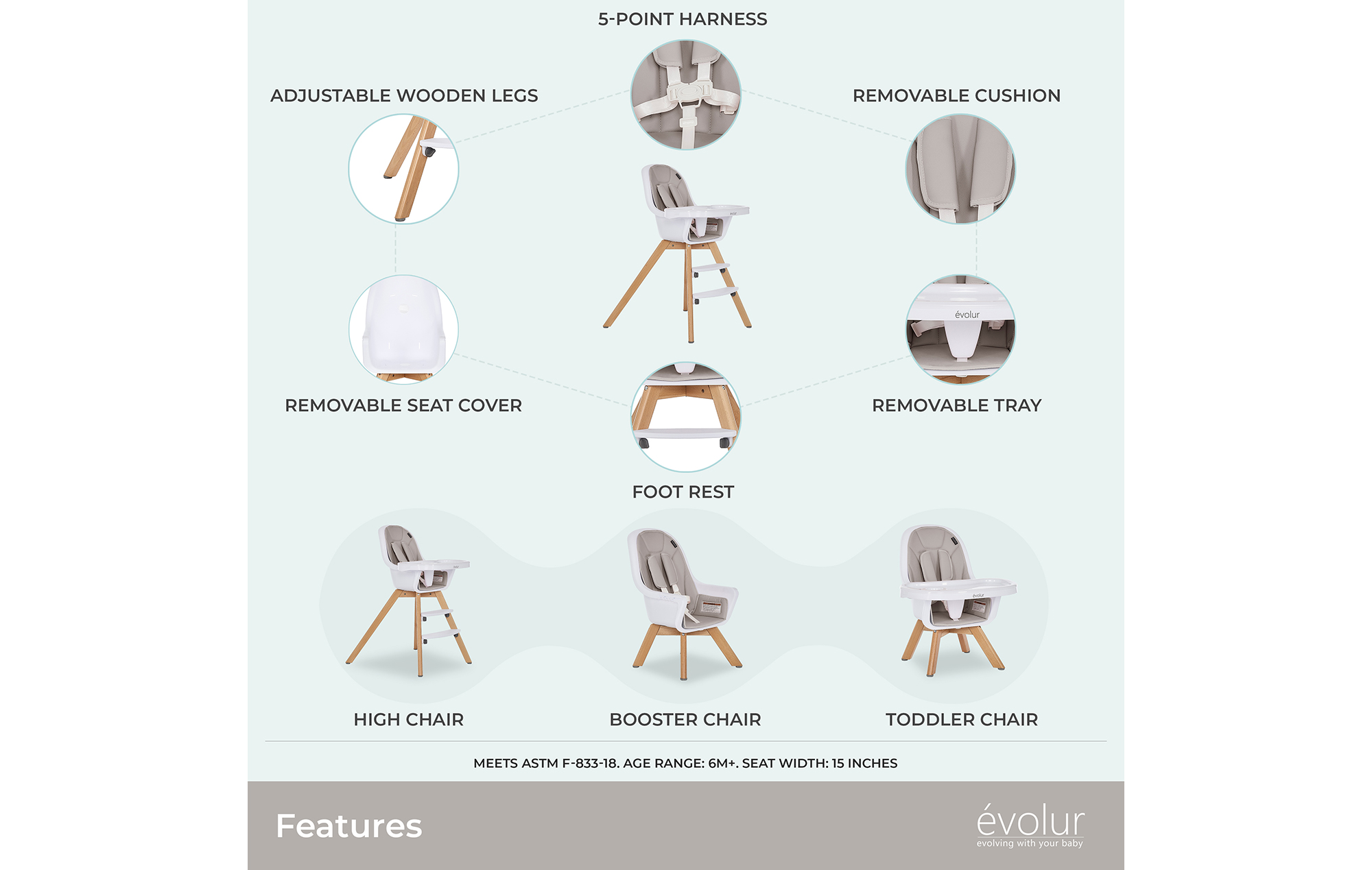 Zoodle 2-in-1 High Chair in Light Grey
