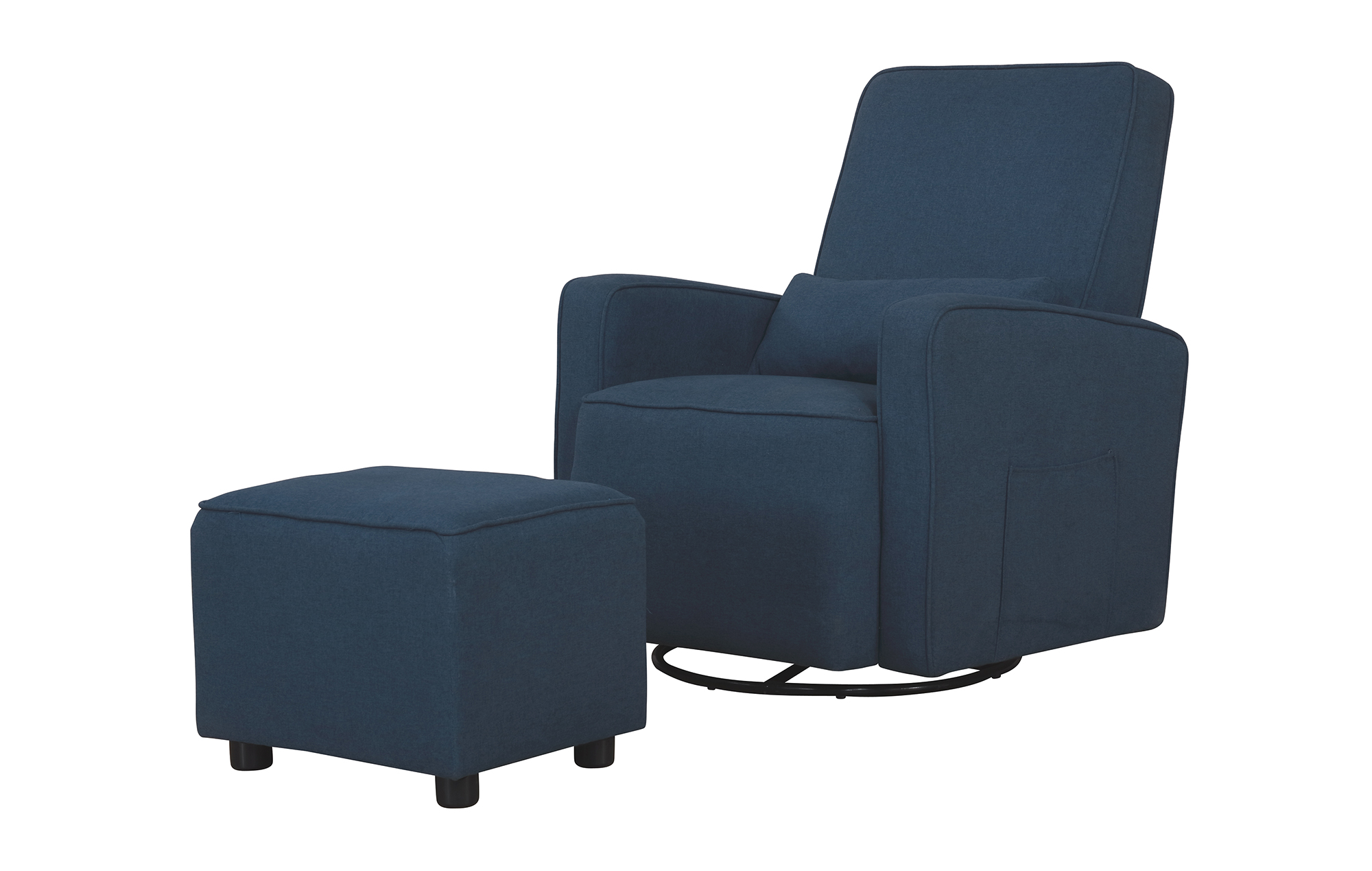 Evolur Glider and Ottoman in Navy