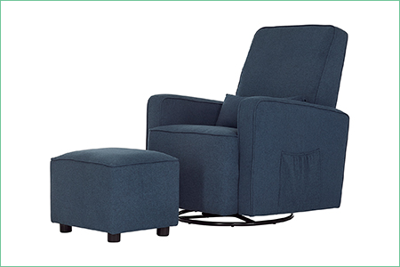 Holland Upholstered Swivel Glider and Ottoman