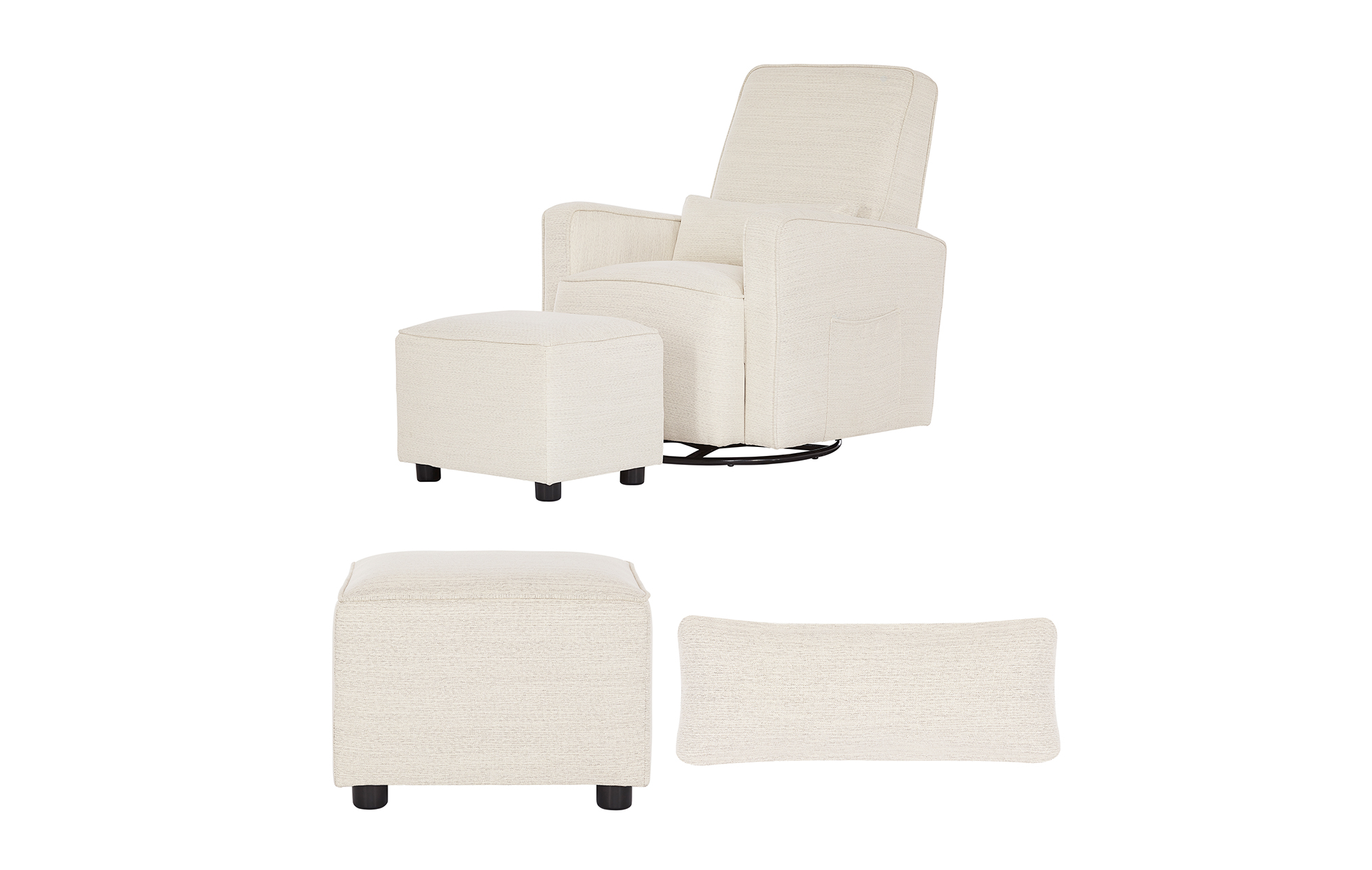 Evolur Glider and Ottoman in Thunder